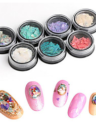 pinpai 7pcs nail art décoration strass perles conception cosmétique abalone shell fragments manchée autocollant