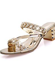 Damen Sandalen Club-Schuhe PU Frühling Sommer Normal Kleid Party & Festivität Club-Schuhe Schnalle Keilabsatz Gold Silber 10 - 12 cm