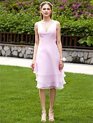 LAN TING BRIDE Knee-length V-neck Bridesmaid Dress - Elegant Sleeveless Organza
