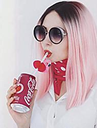 Mujer Pelucas sintéticas Sin Tapa Medio Liso Rosa Pelo Ombre Corte Bob Peluca natural Las pelucas del traje