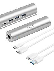 Unitek Y-3095W USB 3.0 Type-C to USB 3.0 3Ports Super Speed Hub Gigabit Ethernet Converter