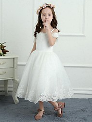 A-Line Tea Length Flower Girl Dress - Satin Net Sleeveless Off Shoulder with Beading by Yiranmei