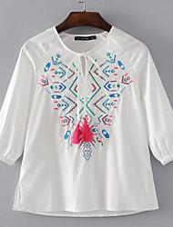 Damen Stickerei Einfach Alltag Normal T-shirt,Rundhalsausschnitt 3/4 Ärmel Baumwolle