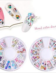 pinpai 12 boîtes ongles art décoration strass perles maquillage cosmétiques design accessoires diy flash