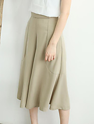 Women's High Waist Inelastic Loose Pants,Simple Relaxed Solid
