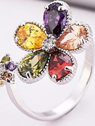 Ring Settings Ring  Luxury Elegant Noble Zircon Women's Multicolor Flower Rhinestone Euramerican Fashion Birthday Wedding Movie Gift Jewelry