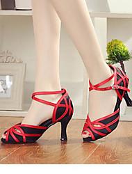 Feminino Tênis de Dança Pele Sandálias Tênis Exterior Salto Robusto Vermelho 5 - 6,8 cm
