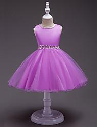 Princesa joelho comprimento flor menina vestido - polyster jóia sem mangas pescoço com pérola