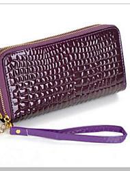 Women Checkbook Wallet PU All Seasons Casual Rectangle Zipper Black Purple Yellow