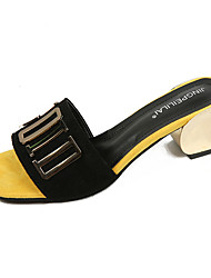 Damen Sandalen Süß Modisch PU Frühling Sommer Alltag Ausgehen Süß Modisch Blockabsatz Schwarz Khaki 5 - 7 cm
