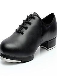 """Women's Tap Leather Heels Sneakers Practice Low Heel Black 1"""" - 1 3/4"""""""