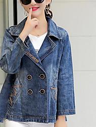 Для женщин Повседневные Весна Джинсовая куртка Рубашечный воротник,Современный Однотонный Короткая Длинный рукав,Хлопок Другое
