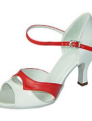 Damen Latin PU Sandalen Sneakers Professionell Verschlussschnalle Niedriger Heel Rot/Weiß 5 - 6,8 cm Maßfertigung