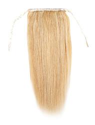 24inch silk straight clip in high ponytail human hair extension 120g-drawstring