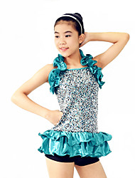 MiDee Jazz Outfits Women's / Children's Performance Spandex /Paillettes / Ruffles / Sequins 4 Pieces Blue Jazz Sleeveless
