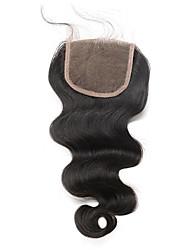 5x5 кружевное закрытие с ребенком без волос / середина часть тела волна бразильская remy волосы cara волосы отбеленные узлы естественный