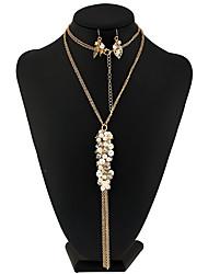 Mujer Collar / pendientes Los sistemas nupciales de la joyería Collar con perlas Diseño Único Colgante Moda EuramericanPerla Artificial