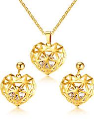 Women's Drop Earrings Choker Necklaces Bridal Jewelry Sets  Classic Elegant AAA Cubic Zirconia  Titanium Steel Heart Shape Jewelry  For Wedding Party