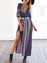 Women's Casual/Daily Boho Tunic Dress,Striped Print Plaid V Neck Maxi Summer Low Rise Inelastic Medium