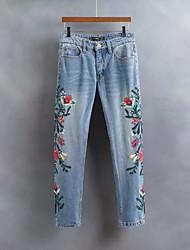 Для женщин Уличный стиль strenchy Джинсы Брюки,Со стандартной талией Свободные Чистый цвет В полоску Цветочный Цветочный принт Вышивка