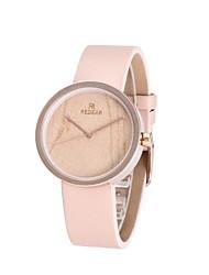 REDEAR®Women's Fashion Watch Wood Watch Japanese Quartz Wooden PU Band Charm Elegant Pink