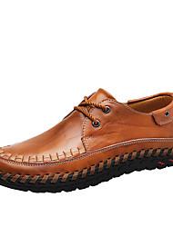 Для мужчин Туфли на шнуровке Для прогулок Удобная обувь Наппа Leather Весна Лето Осень Повседневные Комбинация материаловНа плоской
