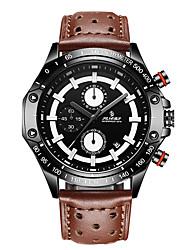Men's Sport Watch Fashion Watch Japanese Quartz Calendar Water Resistant / Water Proof Genuine Leather Band Black