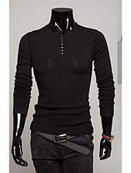 Men's Daily Short Cashmere,Solid V Neck Long Sleeve Roman Knit Spring Fall Medium Micro-elastic