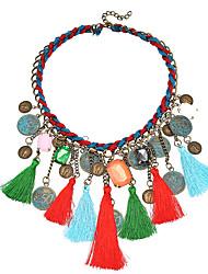 Colliers pendentifs femme lin / coton strass chrome bijoux basiques bijouterie fantaisie anniversaire événement / fête cadeau quotidien