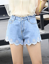 Women's High Waist Inelastic Shorts Pants,Cute Wide Leg Embroidery