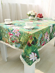 Chinese Classical Lotus Cotton And Linen Material Modern Simple Rectangular Tablecloth 60*60cm
