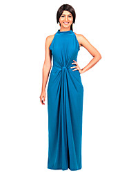 Lady Sleeveless Halter Formal Evening Long Dress Womens Classic Bodycon Full Maxi Dress Party Vestidos