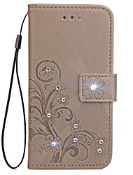 For iPhone X iPhone 8 Case Cover Wallet Card Holder Rhinestone with Stand Flip Embossed Pattern Magnetic Full Body Case Solid Color Flower