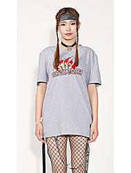 Feminino Camiseta Para Noite Casual Roupa Esportiva Simples Moda de Rua Activo Verão,Design Especial Padrão Algodão Decote RedondoManga
