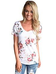 Tee-shirt Femme,Imprimé Anniversaire Quotidien simple Mignon Eté Manches Courtes Col Arrondi Polyester Spandex Moyen