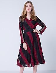 JOJO HANS Women's Party Going out Sexy Vintage Street chic Lace DressFlower/Floral V-neck Midi Long Sleeve Polyester Lace Spring Fall High Rise