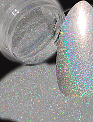 Holographic Laser Silver Nail Art Glitter 0.08mm 003 Size Utral Fine Rainbow Dust Manicure UV Nail DIY Powder Pigment