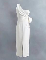 Для женщин На выход На каждый день Простое Уличный стиль Свободный силуэт Прямое Платье Однотонный,На одно плечо Средней длины Без рукавов