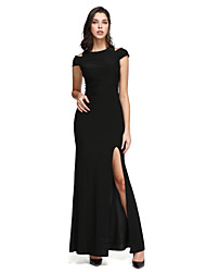 TS Couture Prom Formal Evening Dress - Little Black Dress Sheath / Column Off-the-shoulder Ankle-length Jersey with Split Front
