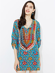 Women's Boho Going out Casual/Daily Simple Street chic Sheath Dress,Floral Print V Neck Knee-length ¾ Sleeve PU Spring Mid Rise Micro-elastic
