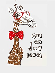 Cartoon Giraffe with Glasses & Bow Tie Wall Stickers Get on My Level Quote Wall Decals Home Decor For Baby Kids Room Living Room