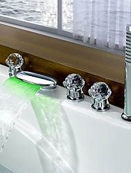 Contemporary LED  Waterfall with  Three Handles Five Holes for  Chrome Finish Bathroom  Bathtub Mixer Faucet