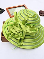 Для женщин Шапки Цветы Панама Шляпа от солнца,Весна/осень Лето Сетка В полоску В полоску
