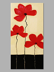IARTS® Hand Painted Modern Abstract Petty Triple Red Flowers on Canvas with Stretched Frame Handmade Oil Painting For Home Decoration Ready To Hang