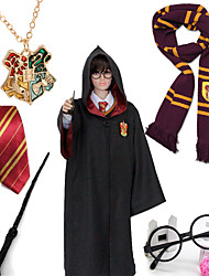 Black Cloak From Movie Harry Halloween Cosplay Kids Costumes 6PCS(Cloak/Necktie/Scarf/Magic Wand/Spectacle Frame/School badge Necklace)