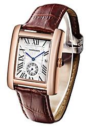 Men's Fashion Watch Wrist watch Quartz Calendar Leather Band Brown