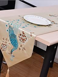 Korean Peacock Design Cotton And Linen Table Flag 32*210cm