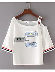 Tee-shirt Femme,Couleur Pleine Imprimé Décontracté / Quotidien simple Manches Courtes Epaules Dénudées Polyester