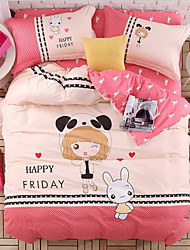 Cartoon Painting 4 Piece Cotton Bed Sets Machine Made Cotton 1pc Duvet Cover 2pcs Shams 1pc Flat Sheet For 1.5-1.8 Meter Bed
