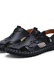 Homme Sandales Confort bottes slouch Polyuréthane Eté Décontracté Marche Confort bottes slouch Talon Plat Noir Brun claire Kaki Plat
